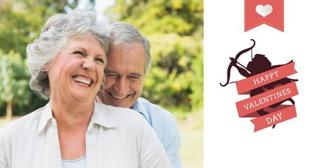 Composite image of happy mature couple laughing