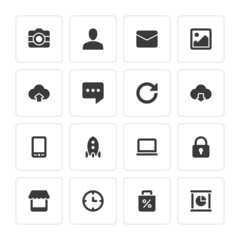 Flat icons vector set and long shadow effect for web design