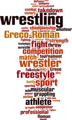 Wrestling word cloud concept. Vector illustration