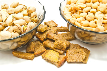 Photo sur Toile Buffet, Bar two plates with nuts and crackers
