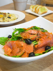 Smoked salmon rocket salad