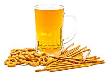 tasty pretzels, breadsticks and light beer