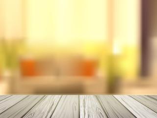 wooden desk over blurred interior scene