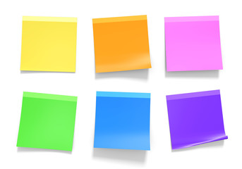 Office sticky notes in yellow, orange, pink, green, blue, purple Wall mural