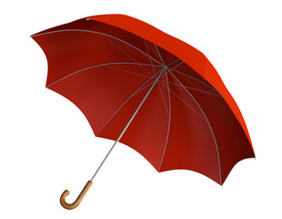 Red umbrella with classic curved handle