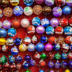Christmas painted glass balls at Christmas Market in Moscow