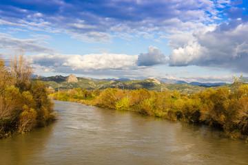 Beautiful landscape from Seljuqs bridge near Aspendos