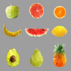 Polygonal abstract illustration of fruits