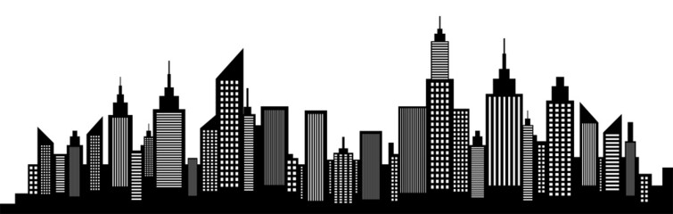 Modern City Skyline Silhouette On White
