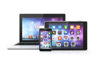 mobile technology laptop, smartphone, tablet