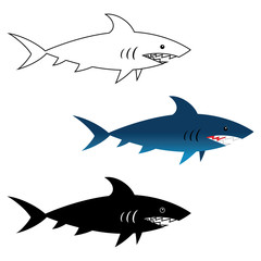 Illustration of great white shark, wild sea animal