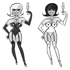 Party girls - blonde and brunette - with glasses of champagne