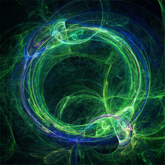 Blue and green fractal circle