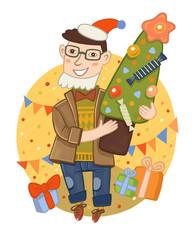 мужчина в окружении подарков держит в руках новогоднюю елку