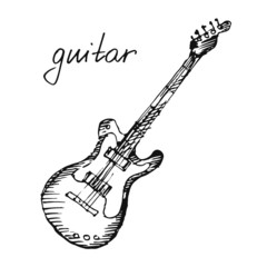 Vector illustration of a guitar. Sketch.