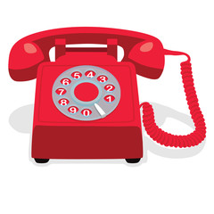 Red stationary phone with rotary dial