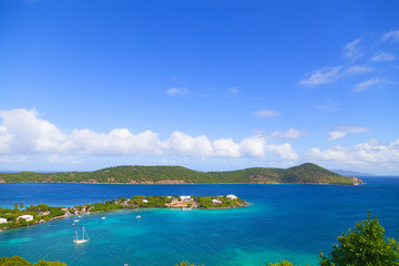 Aerial view on shallow waters near St Thomas Island, US VI.