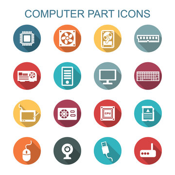 computer part long shadow icons