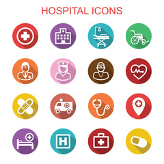 hospital long shadow icons