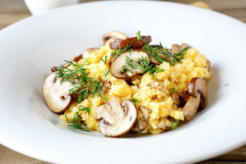 Millet porridge with mushrooms