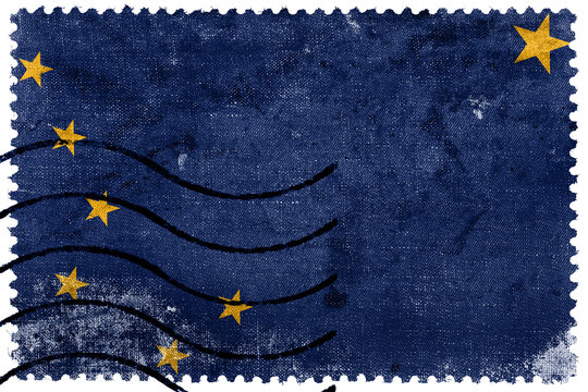 Alaska State Flag - old postage stamp