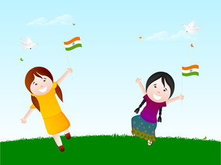Cute girls holding Flags for Indian Republic Day celebration.
