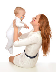mother woman holding in her arms child baby kid girl fan with ru