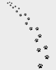 Black trail of cat, turn left, vector illustration