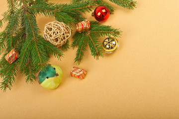 Christmas decorations on paper background