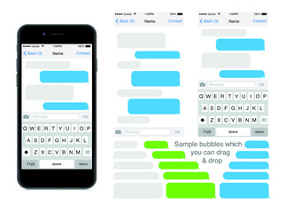 SmartPhone chatting sms template bubbles. Place your own text