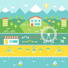 Resort Town Landscape. Recreation Concept