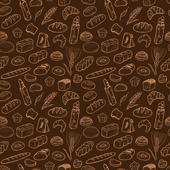 Hand drawn bakery seamless pattern background