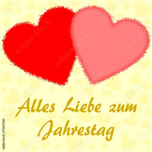Jahrestag.Zwei Grosse Herzen Und Gluckwunsche Zum Jahrestag Auf Deutsch