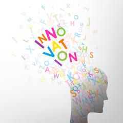 INNOVATION (tête lettres vecteur silhouette créativité idées)
