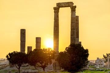 Sunset at Amman Citadel in Jordan