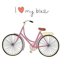I love my bike. Vintage vector illustration.