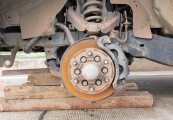 car wheel hub, disc, plate, rusted rotor, rusting bearing