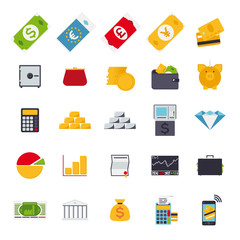 isolated flat design money and finance icon set
