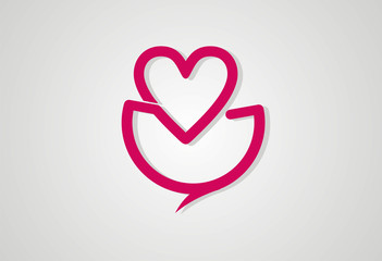Cocolate love chat logo vector