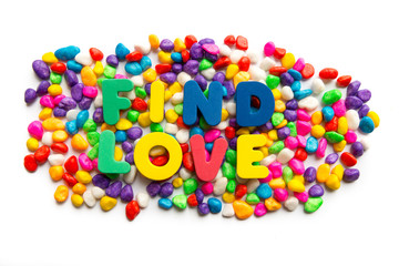 find love word in colorful stone