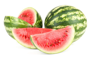 Juicy watermelons isolated on white