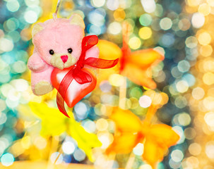 Pink teddy bear with pink heart