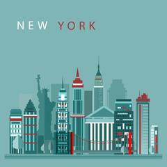 New York city vector illustration. Skyline city silhouette