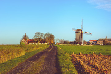Landscape with windmill in Huise, Belgium
