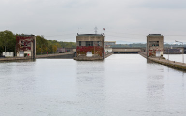 Entrance to large lock on River Danube