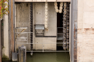 Gate machinery on lock on River Danube