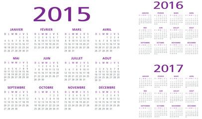 calendrier français 2015 2016 2017
