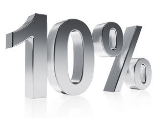 Realistic silver rendering of a symbol for 10 % discount or gain