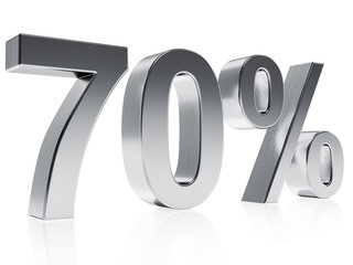 Realistic silver rendering of a symbol for 70 % discount or gain