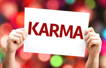 Karma card with colorful background with defocused lights Fotomurales